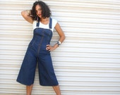 1970s levi fitted gaucho overalls // blue jean baby