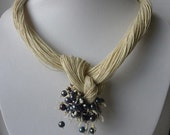One of a Kind Cream Linen with Pearls Necklace Spring & Summer