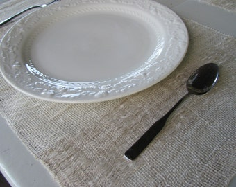 Rustic Linen Placemat, Vintage French Country Farmhouse Decor, Beach Cottage Chic Cabin Home Decor, Natural Cream White Hand Woven Placemats