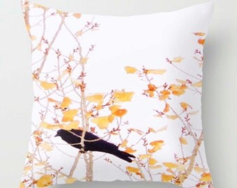 Golden Crow PILLOW case of blackbird Raven  20x20 yellow leaved cottonwood tree - home decoration