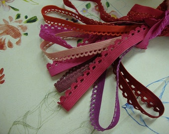 "16 yards 3/8"" and 1/2""  wide in 4 colors scalloped edge lingerie elastic trim"