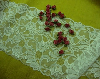 "2 yards 9"" width beautiful double side scalloped edge Victorian shimmery ivory lace trim...SOFT, and Romance."