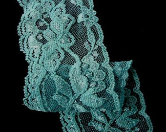 "2 yards 2"" width ( hand dyed ) Bahama blue roses shimmery scalloped stretch lace trim"