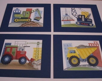 Construction art prints, Busy builder construction trucks art, construction nursery decor, children print