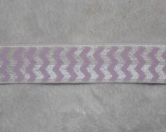 10 yards Light Lilac Lavender White CHEVRON print baby headband DIY Hair Ties FOE stretch foldover fold over elastic