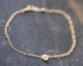 Gold skull bracelet, Mini Gold skull bracelet