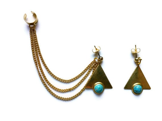 ear cuff with triangle earrings, chains ear cuff, turquoise earrings, geometric earrings, ear cuff with chains