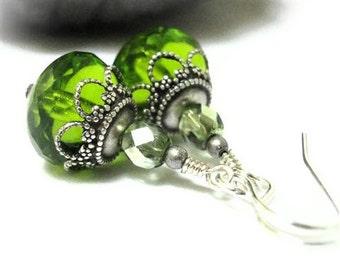 Green Swarovski Earrings August Birthstone Birthday Peridot Small Petite Victorian Jewelry