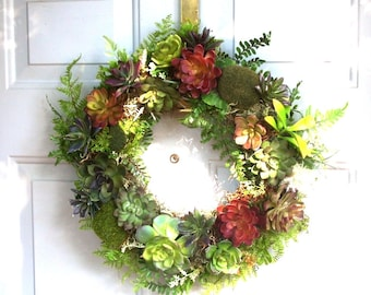 16in Wreath of Faux Succulents, Artificial Succulent Wreath, Front Door Wreath of Artificial Succulents, Rustic Door Wreath
