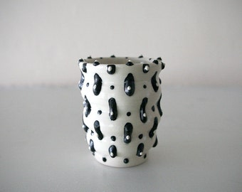 "Small Stoneware Cup with Black and White Graphical Design / Wheel Thrown / ""FRILL"""