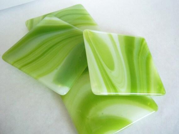 COASTERS - Lime Swirl Fused Glass Coasters - Set of 4