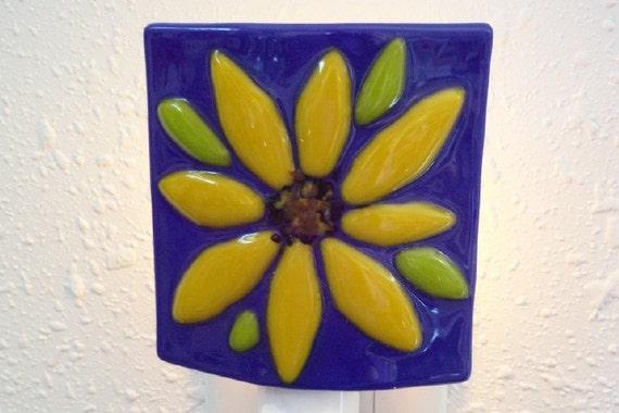 SPRING CLEARANCE NIGHTLIGHT - Yellow Sunflower on Blue Fused Glass Nightlight, Bedroom Nightlight, Bathroom Nightlight, Sunflower Home Decor