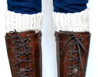 Crochet Boot Cuffs - Super Soft Alpaca Cuffs - Ivory - NEW