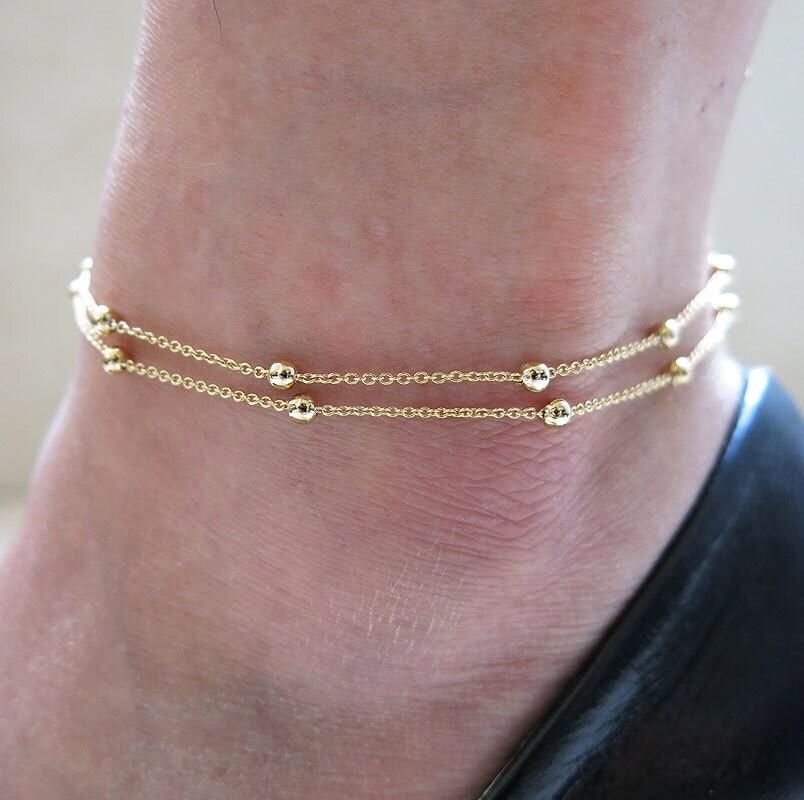 gold anklet gold chain anklet gold delicate anklet by ...