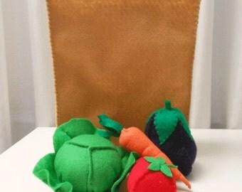 Felt Food Set includes Grocery Bag with Vegetables, lettuce, carrot,eggplant, tomato