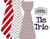 Set of 3 PRINTABLE Tie Decals, Chevron Tie, Polka Dot Tie, Stripe Tie in Red, White, and Gray DIY Iron On Tie Decal Heat Transfers
