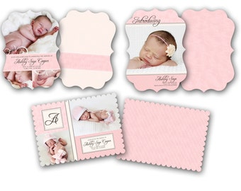 INSTANT DOWNLOAD -   Birth announcement photo card templates, Luxe 3 pack - 0588-90