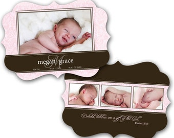 INSTANT DOWNLOAD - Birth announcement photo card template, Luxe card - 0192