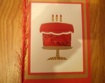 Birthday Cake Card, Red Cake card, Iris folding red cake