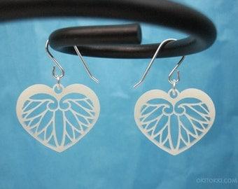 Korean Modern Heart Earrings Ivory, Minimalist Leaf Jewelry, Phoenix Wings Ivory, Asian Mythology Jewelry, Princess Gift for Her, Wedding