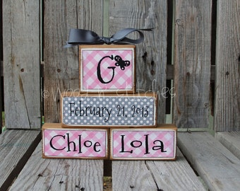 Twins Baby child Personalized Name Wood Block Set girl boy birth announcement baptism date twins wedding family nursery kids room gift