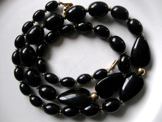 Vintage Napier Necklace Black And Gold Black Onyx Look