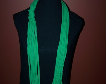 Upcycled Green Dyed  T-Shirt Scarf