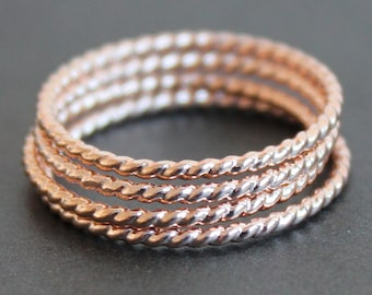 Rose Gold Vermeil Twisted Wire Ring (Various Sizes) - READY TO SHIP