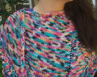 Candy Pie Extrafine Italian Merino Handdyed Wool Hand Knitted Crescent Shaped Multicolored Shawlette or Scarf