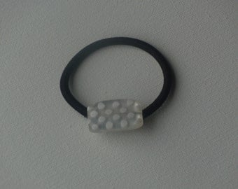 White polka dots puffy rectangle bead, ponytail holder