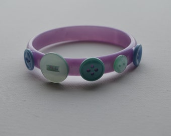 Purple vintage bangle bracelet with green & blue vintage buttons