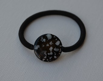 Black speckled shell coin bead, ponytail holder