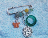 "Silver Kilt Pin with Swarovski & Semi Precious Gemstones ""Mystery Meadow"" Cute, chirpy, nature, butterfly"