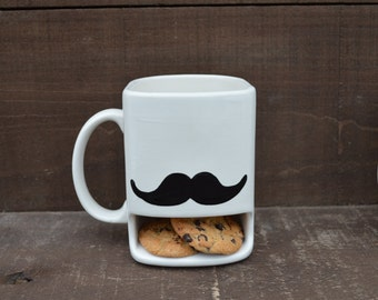 I Mustache You to Back Away from My Cookies - Ceramic Cookies and Milk Dunk Mug