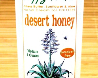 Desert Honey Hand Cream for Knitters - 8oz Jumbo HAPPY HANDS Shea Butter Lightly Scented Hand Lotion