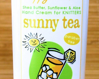 Sunny Tea Scented Hand Cream for Knitters - 8oz Jumbo HAPPY HANDS Shea Butter Hand Lotion Paraben-Free
