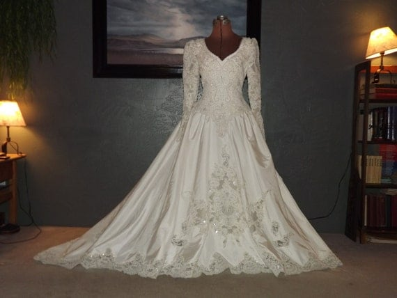 Vintage 1990s Wedding Gown By Bonny Stunning Beadwork With