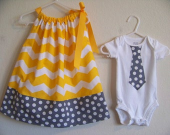 Yellow Chevron Brother Sister Set