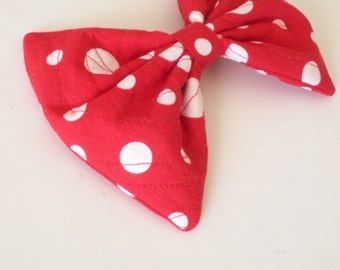 Large Red Polka Dot Hair Bow For Girls, For Women