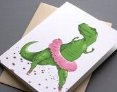 T-Rex Ballerina Notecard