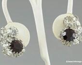 Vintage Earrings Red Crystal Rhinestones Clip Style