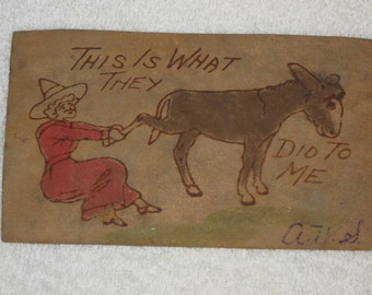 "Vintage Leather Postcard - Donkey with Lady - ""This  is what they did to me "" - Comic"
