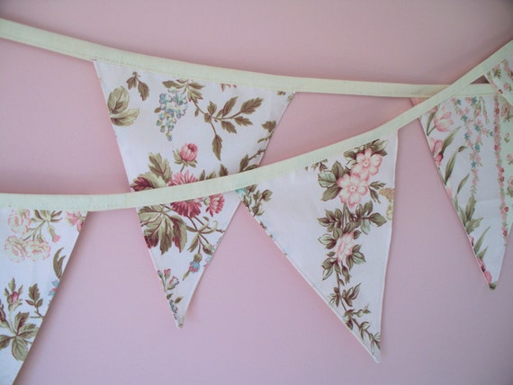 Shabby Chic French Cottage Pink Floral Flag Bunting Extra Long.  SALE 10% off