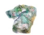 Hand Painted Silk Chiffon Long Scarf, Beautiful Daisies, Daisy Flowers, Aquamarine Blue, Yellow, Mint Green  Bacground