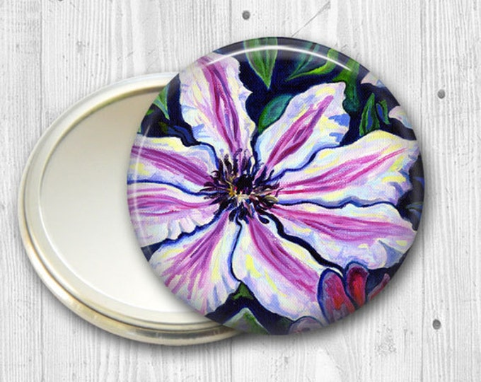 floral pocket mirror, clematis original art hand mirror, mirror for purse, gift for her,  bridesmaid gift, stocking stuffer MIR-556