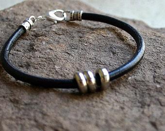 Men's Thick Bracelet 4mm Black Round Leather Surfer Surf Wrap, Mens Bracelet, Mens Jewelry