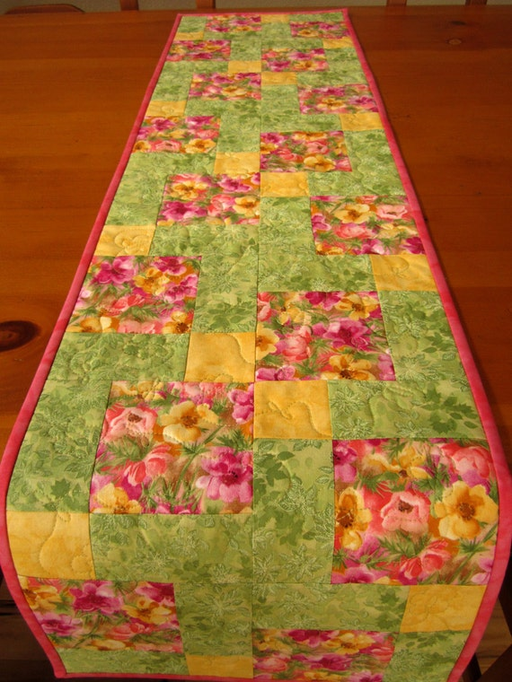 Spring Table Runner Quilted Table Runner Patchwork