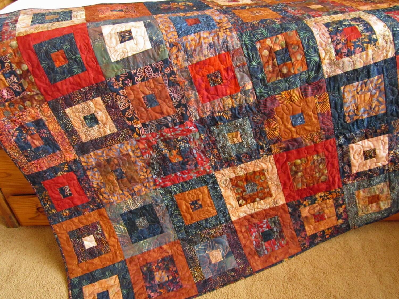 Batik Quilt Rust And Navy Handmade Quilt Patchwork Quilt