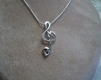 Clef Skull Music Note, Sterling Silver Snake Chain, Necklace, by Brendas Beading on Etsy