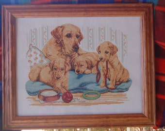 COMPLETED AND FRAMED - Mama Golden Retriever and 3 Pups